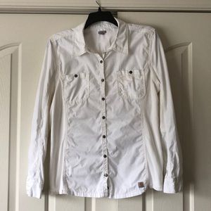 Cream long sleeve button up with 3/4 sleeve option